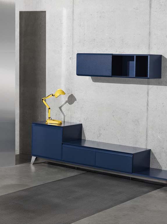 Buffet voltaire meuble tv l 240 cm bleu diesel with for Meuble tv 240 cm