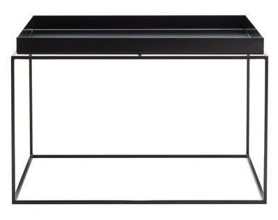 Furniture - Coffee Tables - Tray Coffee table - Square - H 35 cm / 60 x 60 cm by Hay - Black - Lacquered steel