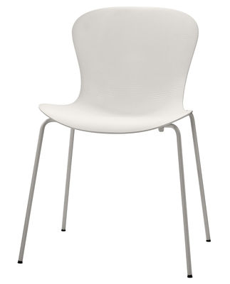 Chaise empilable Nap / 4 pieds acier - Fritz Hansen blanc en matière plastique