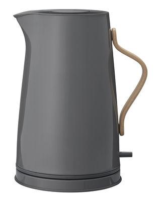 Cuisine - Théières et bouilloires - Bouilloire électrique Emma / 1,2 L - Stelton - Gris foncé & bois - Acier inoxydable laqué, Hêtre
