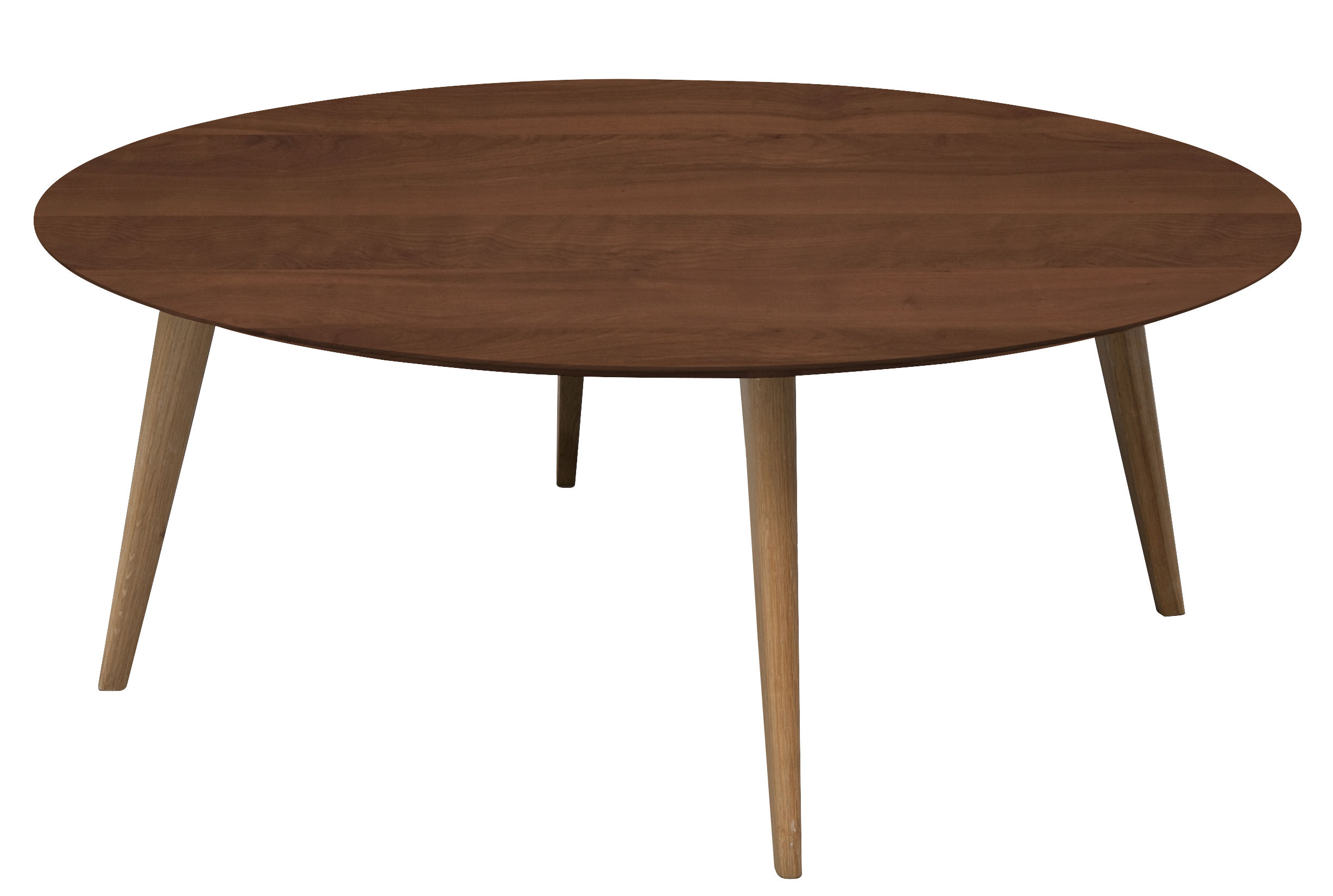 Table basse lalinde ronde xxl 95 cm noyer pieds for Table noyer 6 pieds