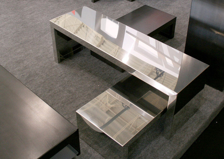 small inox coffee table mirror - l 106 x h 20 cm by zeus