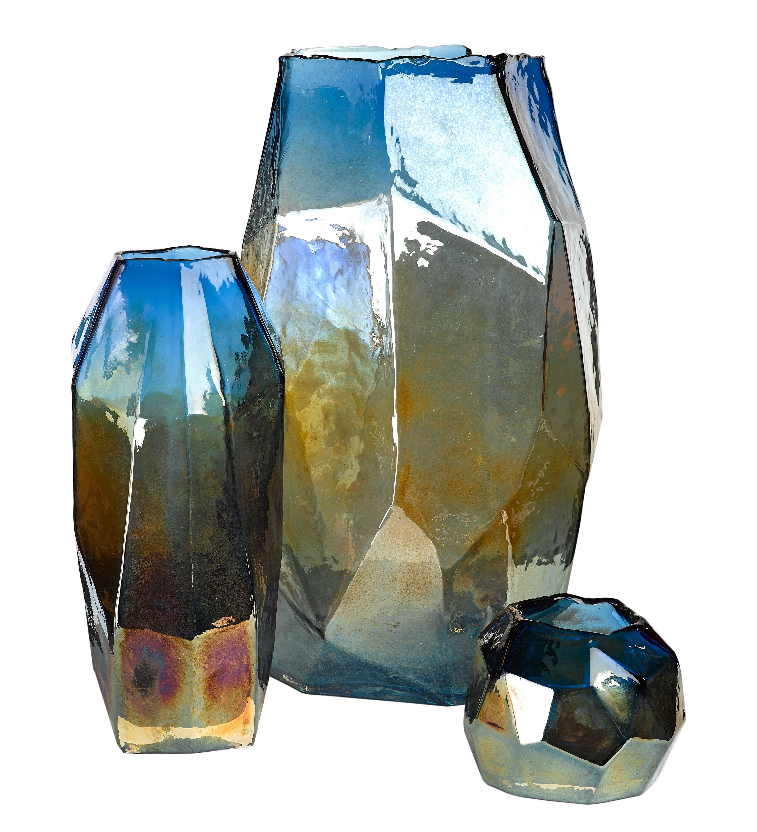 graphic luster candle holder 12 cm bleu by pols potten. Black Bedroom Furniture Sets. Home Design Ideas
