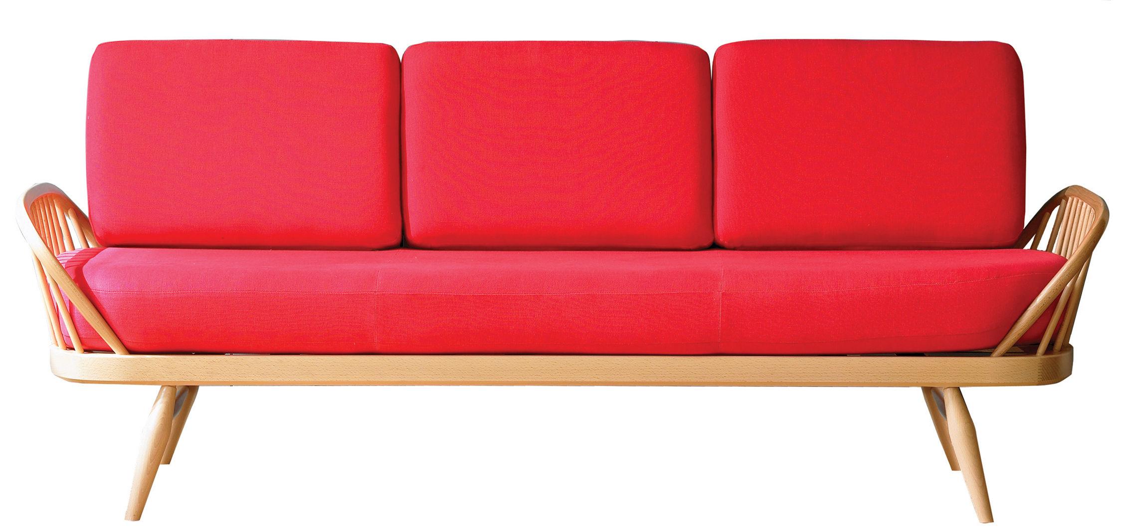 canap droit studio couch 3 places l 206 cm r diton 1950 39 rouge structure bois clair. Black Bedroom Furniture Sets. Home Design Ideas
