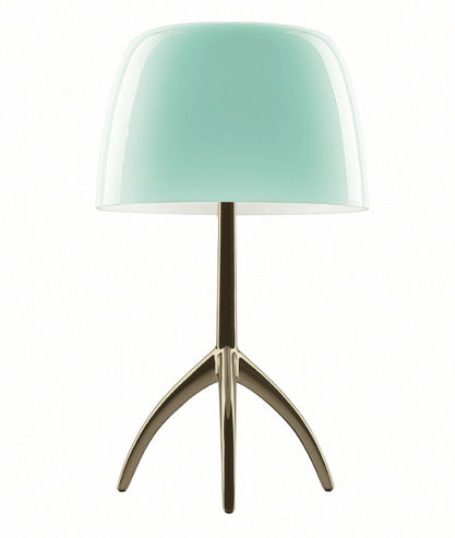 lampe de table lumi re piccola variateur h 35 cm turquoise pied champagne foscarini. Black Bedroom Furniture Sets. Home Design Ideas