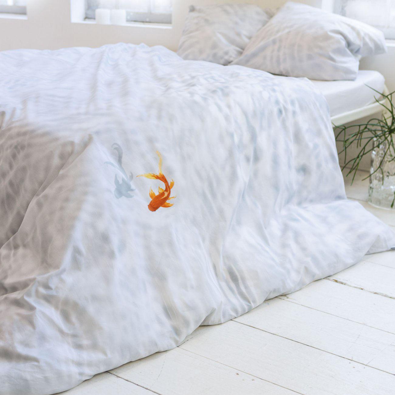 parure de lit 2 personnes bassie 240 x 220 cm bassie eau claire et poisson rouge snurk. Black Bedroom Furniture Sets. Home Design Ideas