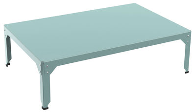 Furniture - Coffee Tables - Hegoa Coffee table - 121 x 79 cm - Indoor / Outdoor use by Matière Grise - Blue celadon frame / Taupe cushions - Epoxy lacquered stainless steel