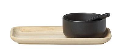 Service à condiments Mauste / Bois et grès - Marimekko bois,noir mat en céramique