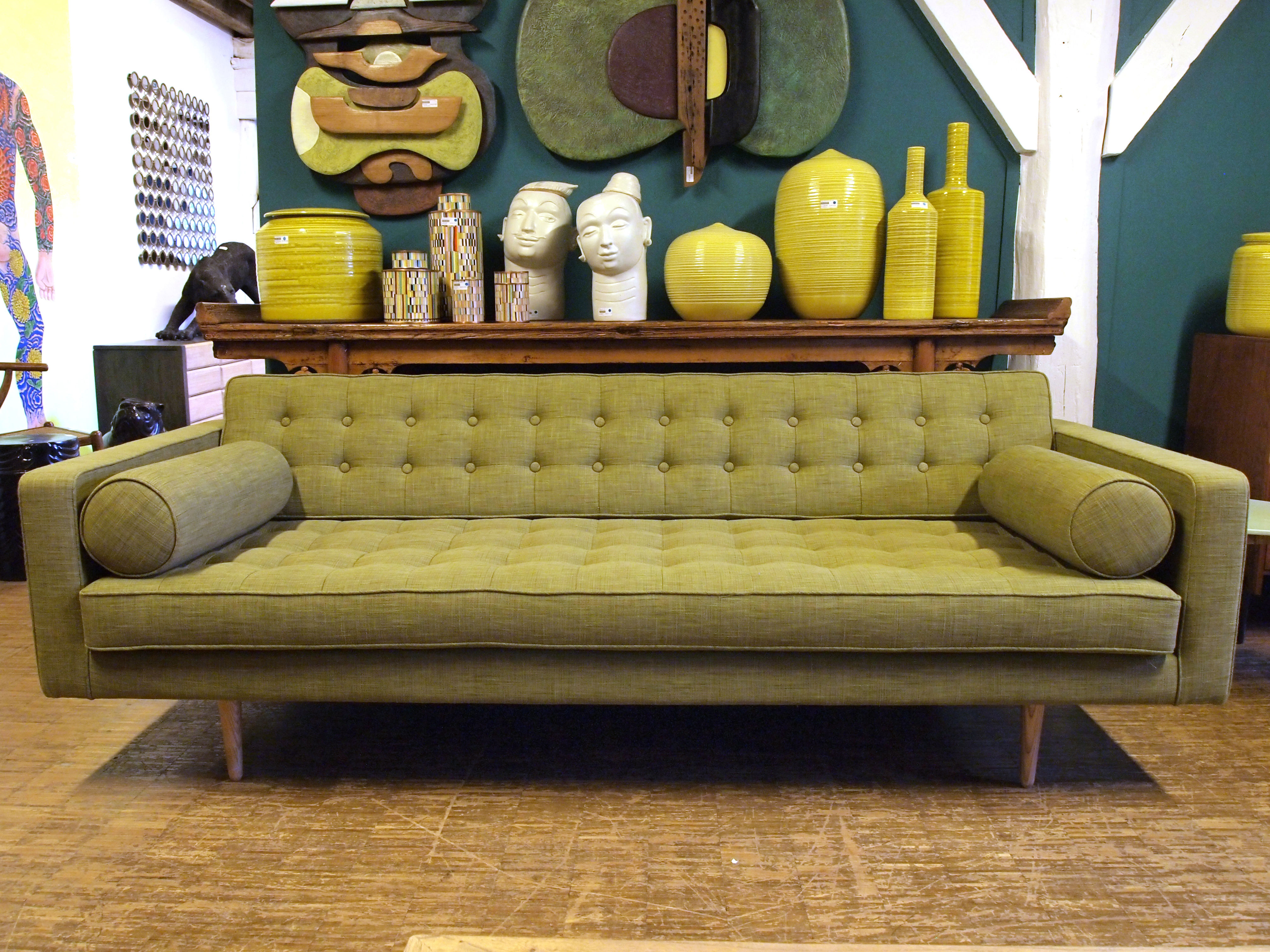 Canap droit 3 places l 215 cm vert olive made in - Canape vert olive ...