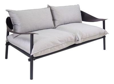 Terramare Sofa 2 Sitze / L 175 cm - Stoff & Kunstleder - Emu - Schwarz,Hellgrau