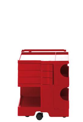 Desserte Boby / H 52 cm - 3 tiroirs - B-LINE rouge en matière plastique