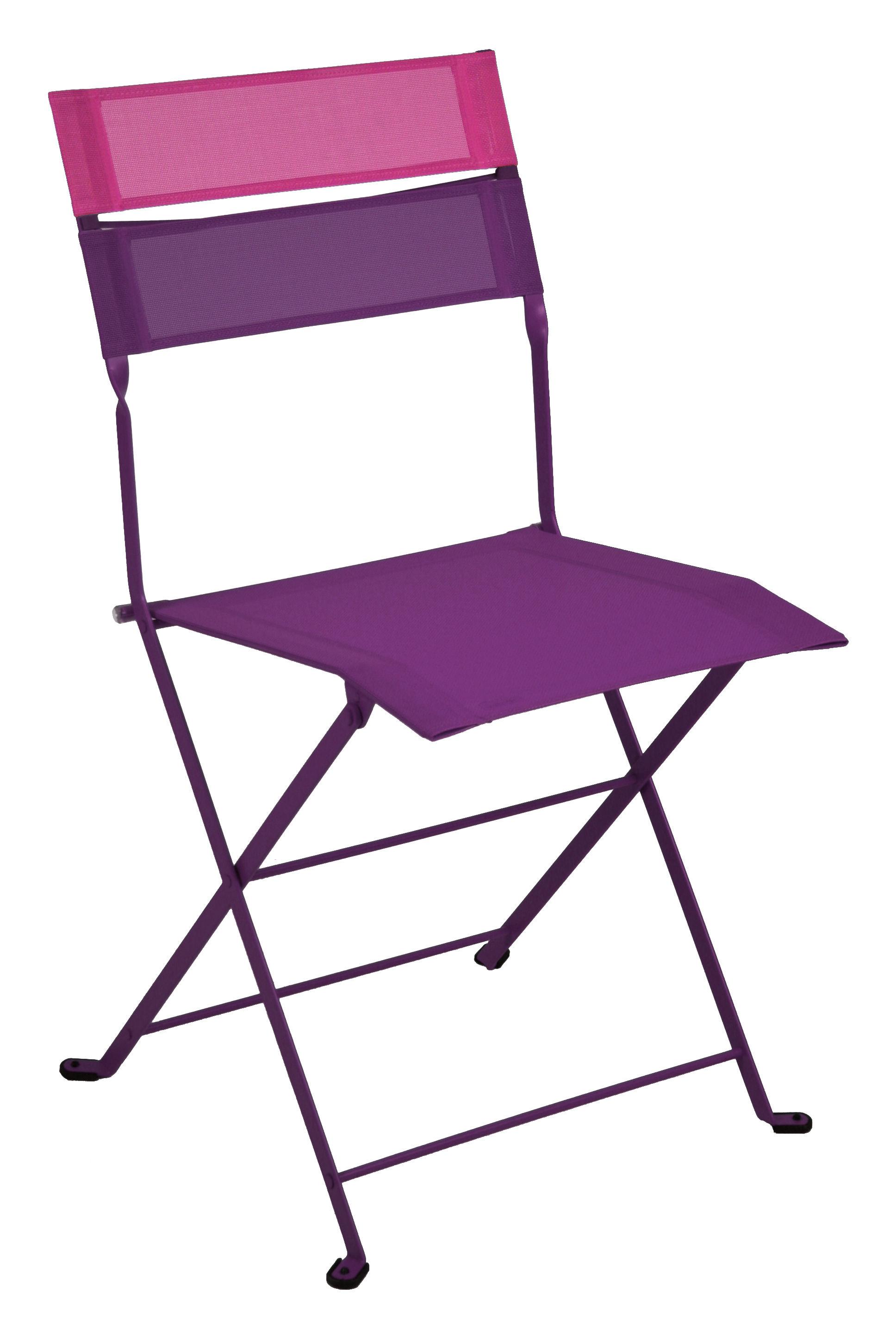 chaise pliante latitude toile aubergine bandeau fuchsia fermob. Black Bedroom Furniture Sets. Home Design Ideas