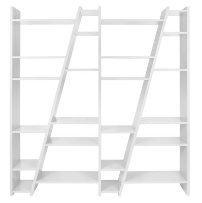 Mobilier - Etagères & bibliothèques - Bibliothèque San Andreas 004 / L 190 x H 195 cm - POP UP HOME - Blanc - Mélamine, Panneaux alvéolaires