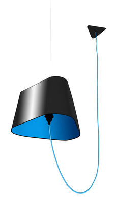 Suspension grand nuage l 43 cm version d port e pvc noir for Luminaire suspension deportee