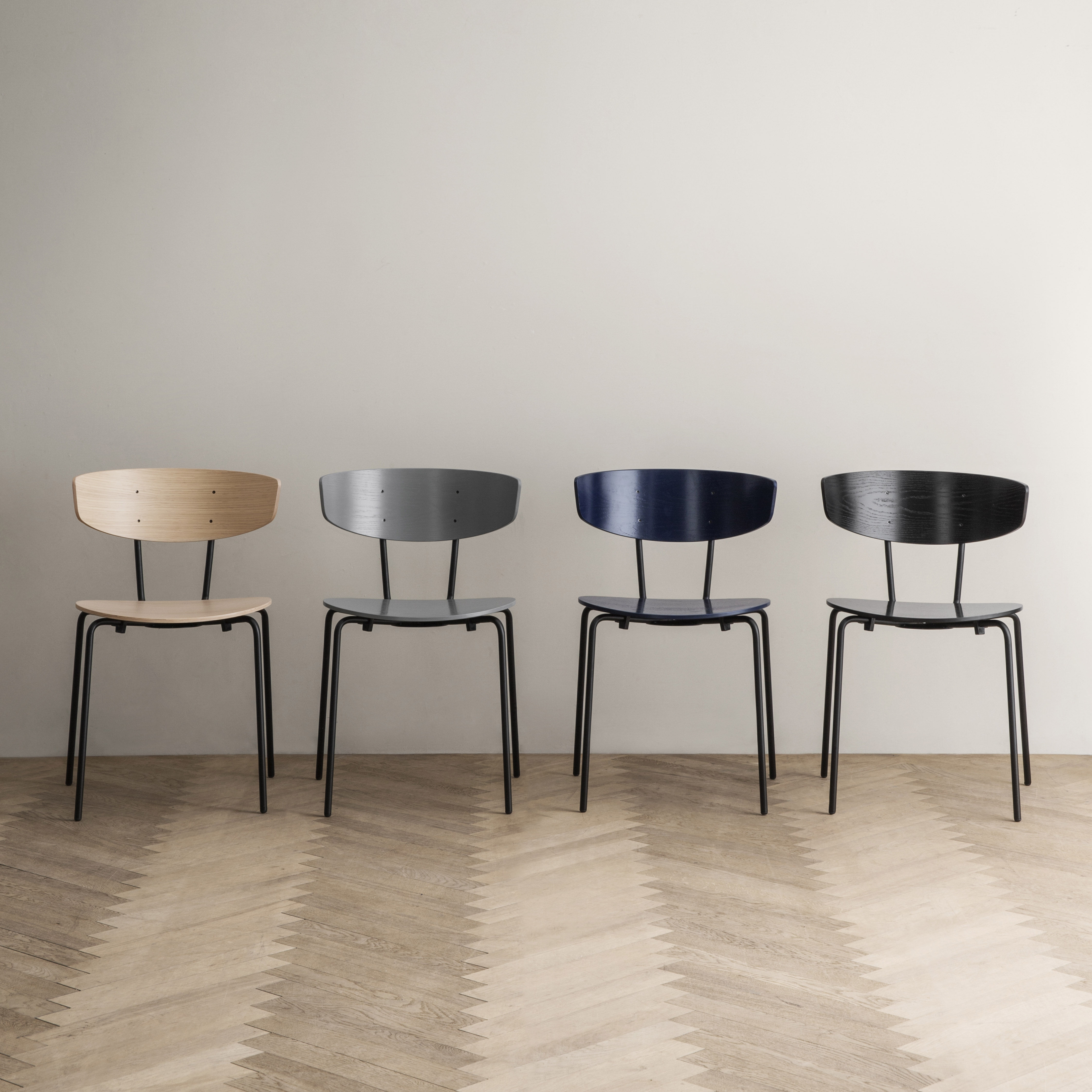Herman Stacking chair Wood & metal Oak Black by Ferm Living