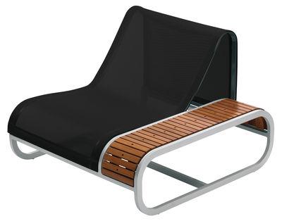 Chaise Tandem version teck - Accoudoir gauche - EGO Paris noir,teck en métal