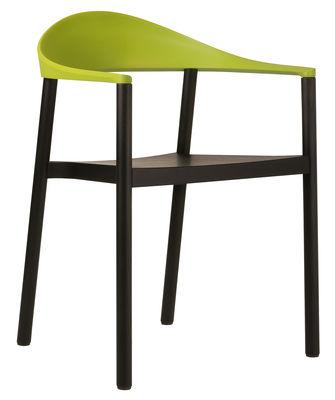 Foto Poltrona impilabile Monza - Struttura in legno nero di Plank - Nero,Verde - Materiale plastico