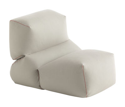 Mobilier - Poufs - Chauffeuse Grapy / Toile coton enduite - Gan - Gris - Billes de polystyrène, Mousse de caoutchouc, Toile de coton enduite