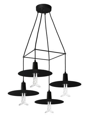 Luminaire - Suspensions - Suspension Chandelier Drop Hat / 4 branches - Ampoules incluses - Plumen - Noir - Métal