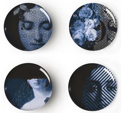 Assiette Yuan Osorio Set de 4 Ibride blanc,bleu en matière plastique