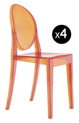 Poltrona impilabile Victoria Ghost - Set di 4 di Kartell - Arancione - Materiale plastico