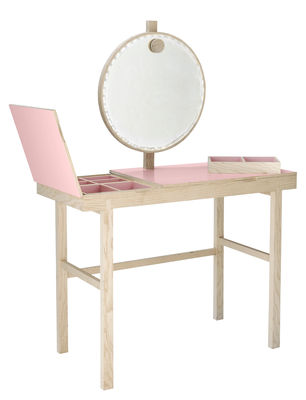 coiffeuse phine miroir lumineux l 100 x h 75 cm bois naturel rose laqu bloomingville. Black Bedroom Furniture Sets. Home Design Ideas