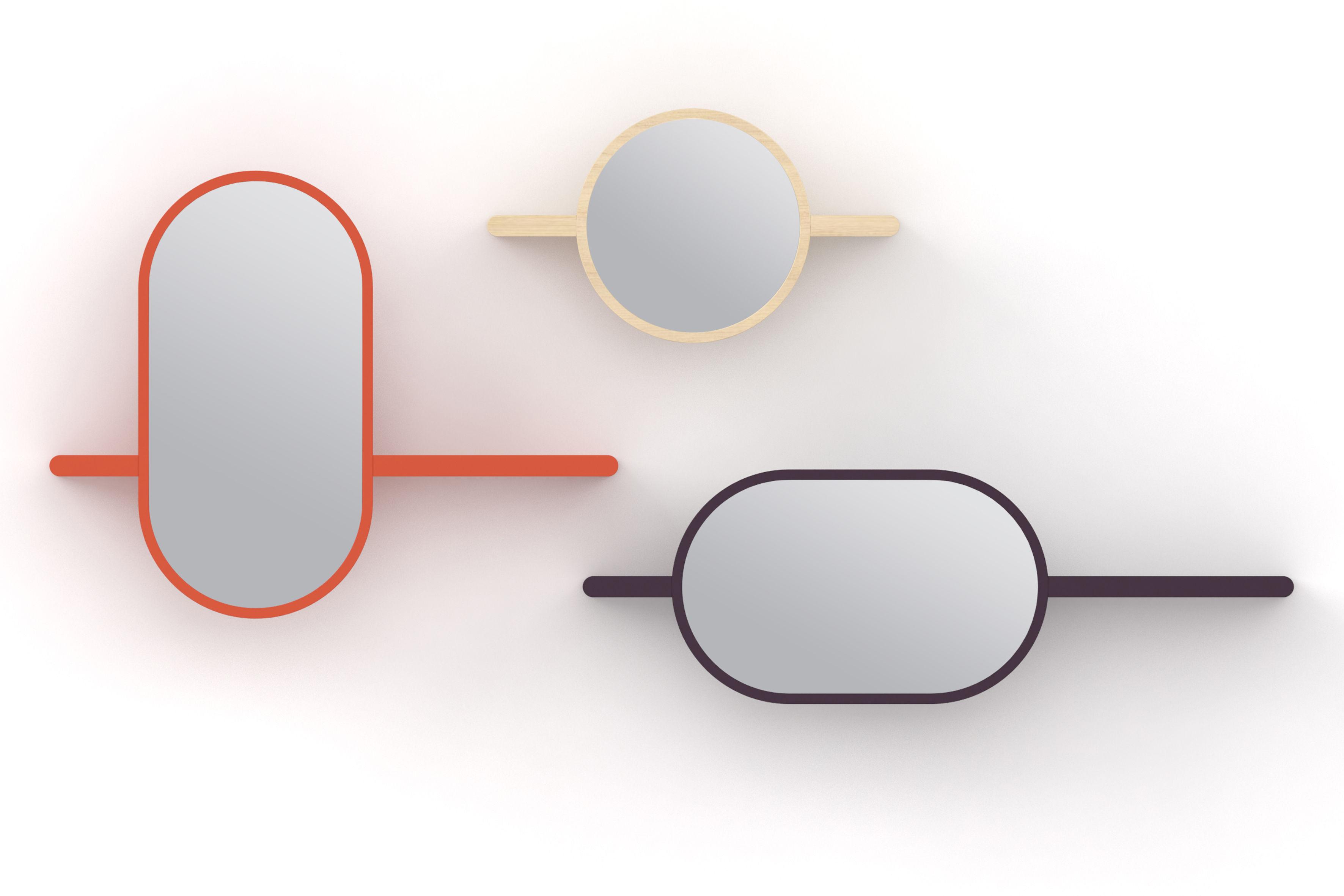Mirette shelf oval vertical mirror l 80 cm natural for Mirror 60cm x 80cm