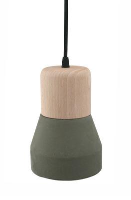 Luminaire - Suspensions - Suspension Cement Wood / Bois & béton - Ø 13 cm - Spécimen Editions - Bois / Diffuseur : Kaki - Béton, Hêtre