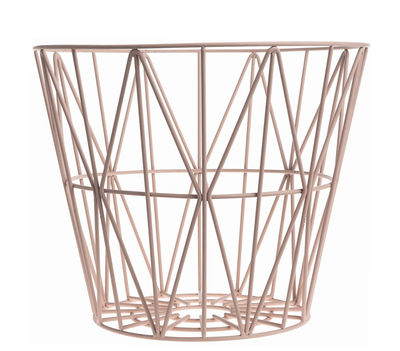 Foto Cesto Wire Small - Ø 40 x H 35 cm di Ferm Living - Rosa - Metallo