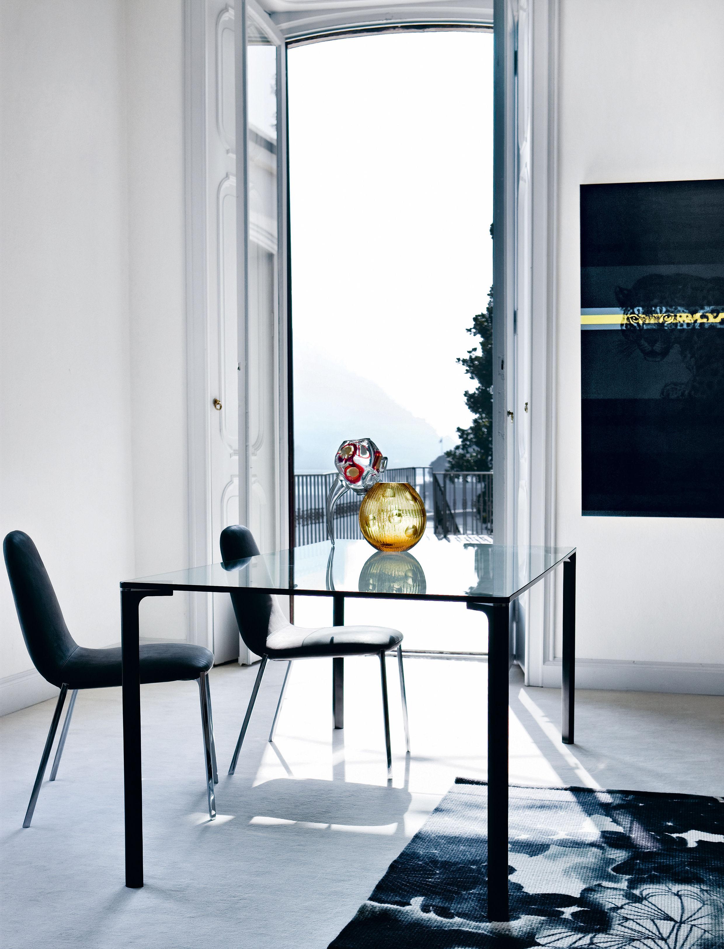 spillo tisch 200 x 100 cm tischplatte transparent tischbeine aluminium poliert by zanotta. Black Bedroom Furniture Sets. Home Design Ideas