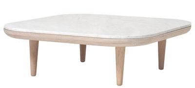 Tavolino FLY - / Marmo - 80 x 80 cm di &tradition - Bianco,Quercia chiara - Legno