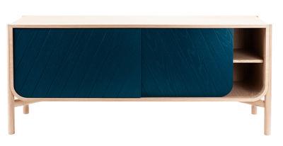 Mobilier - Commodes, buffets & armoires - Buffet Marius / Meuble TV - L 185 x H 65 cm - Hartô - Bleu pétrole & Chêne naturel - Chêne massif, MDF plaqué chêne