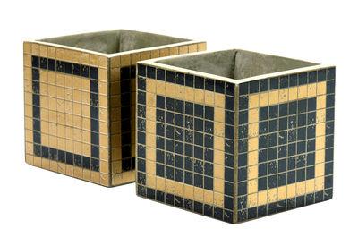 Pot Marie Mosaïque / 17x17 cm - Set de 2 - Serax noir,or en céramique