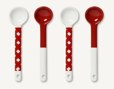 Arts de la table - Couverts de table - Cuillère Okko / Porcelaine - Set de 4 - Marimekko - Blanc & rouge - Porcelaine émaillée