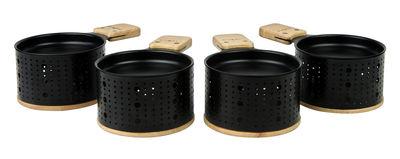 Set Lumi Pour raclette à la bougie 4 personnes Cookut noir,bois naturel en métal