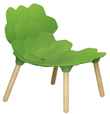 Poltrona bassa Tarta di Slide - Legno naturale,Verde laccato - Materiale plastico