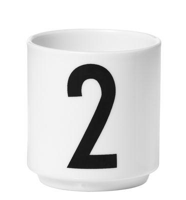 Image of Tazzina da espresso Arne Jacobsen / Porcellana - Numero 2 - Design Letters - Bianco - Ceramica