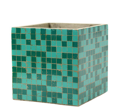 Pot Marie Mosaïque / 22 x 22 cm - Béton émaillé - Serax vert foncé,vert clair en céramique