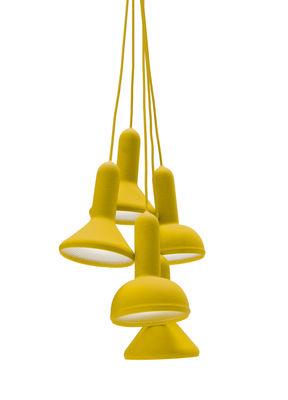 Suspension Torch Light 5 abat jours Established Sons jaune en matière plastique