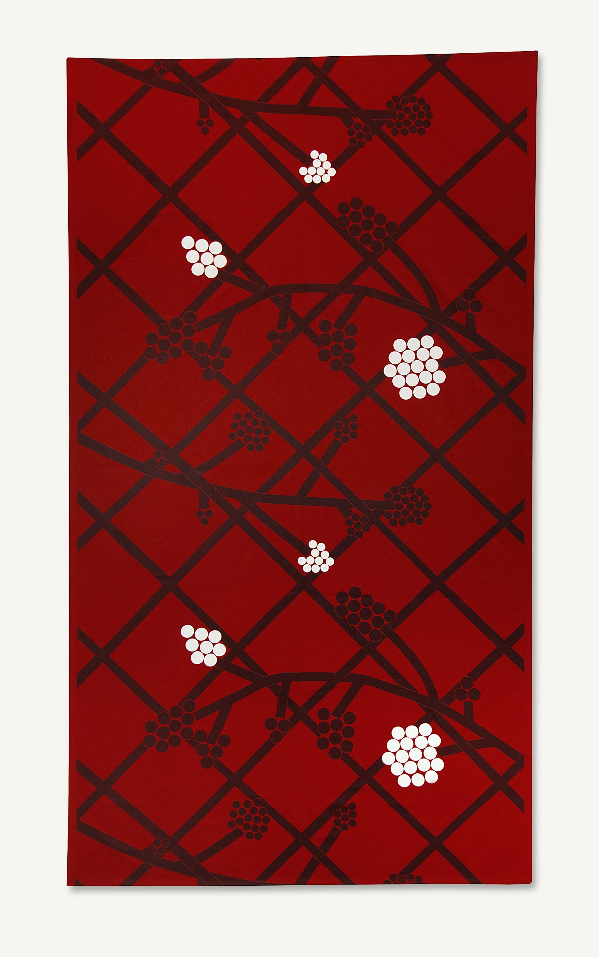 Hortensie Fabric Tablecloth 160 X 280 Cm Red By Marimekko