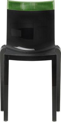 Foto Sedia impilabile Hi Cut - Struttura nera laccata di Kartell - Verde,Nero laccato - Materiale plastico
