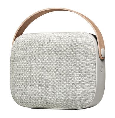 St-Valentin - Pour Elle - Enceinte Bluetooth Helsinki / Sans fil - Tissu & poignée cuir - Vifa - Gris grès - Aluminium, Cuir, Tissu Kvadrat