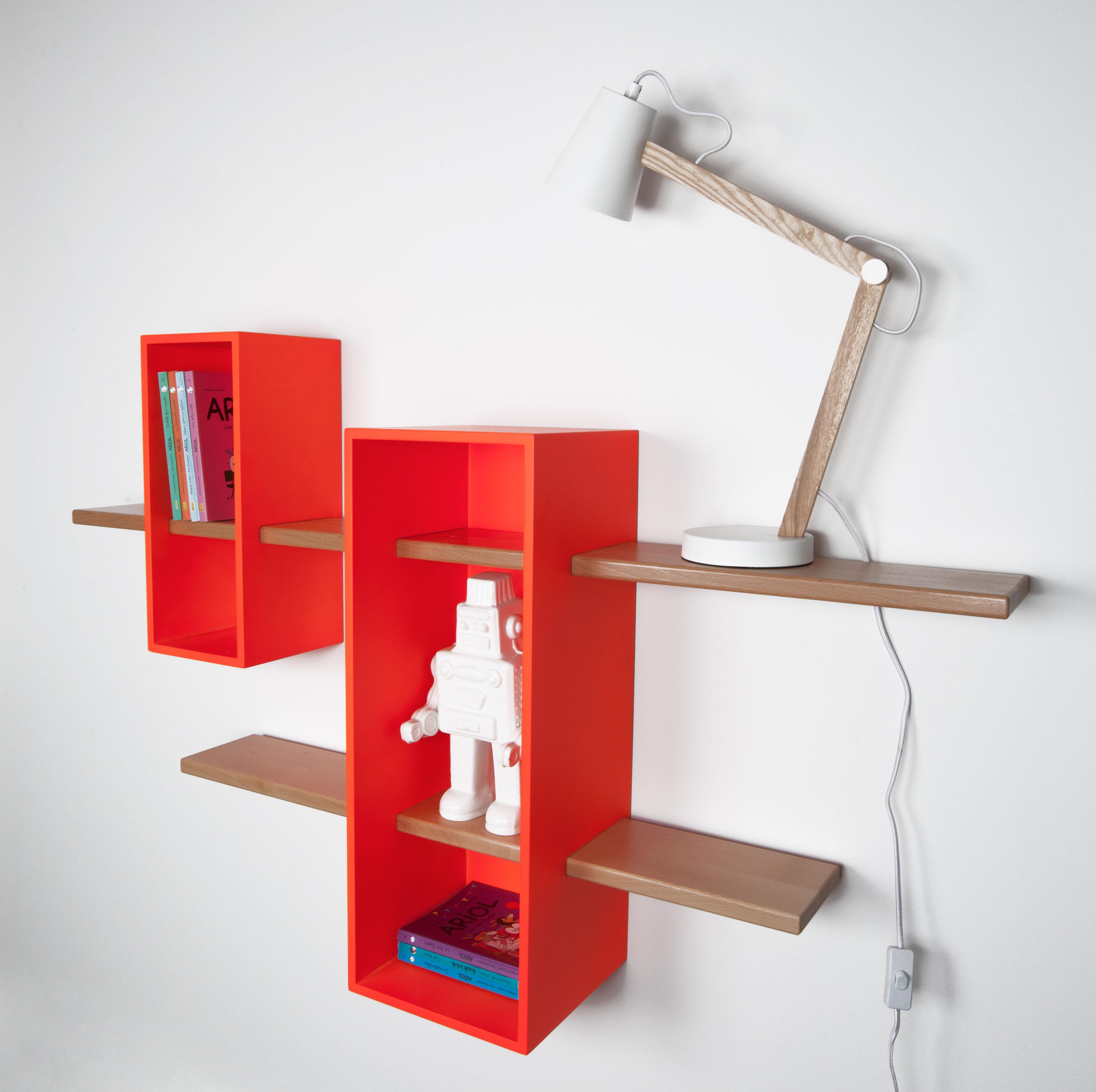 Max shelf double exclusive colour orange luminous by - Exclusive decoration of book shelf ...