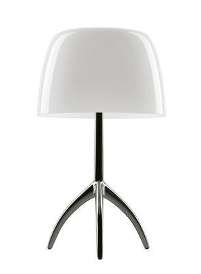 Lumière Piccola Tischleuchte / mit Dimmer - H 35 cm - Foscarini - Schwarz verchromt,Warmweiß
