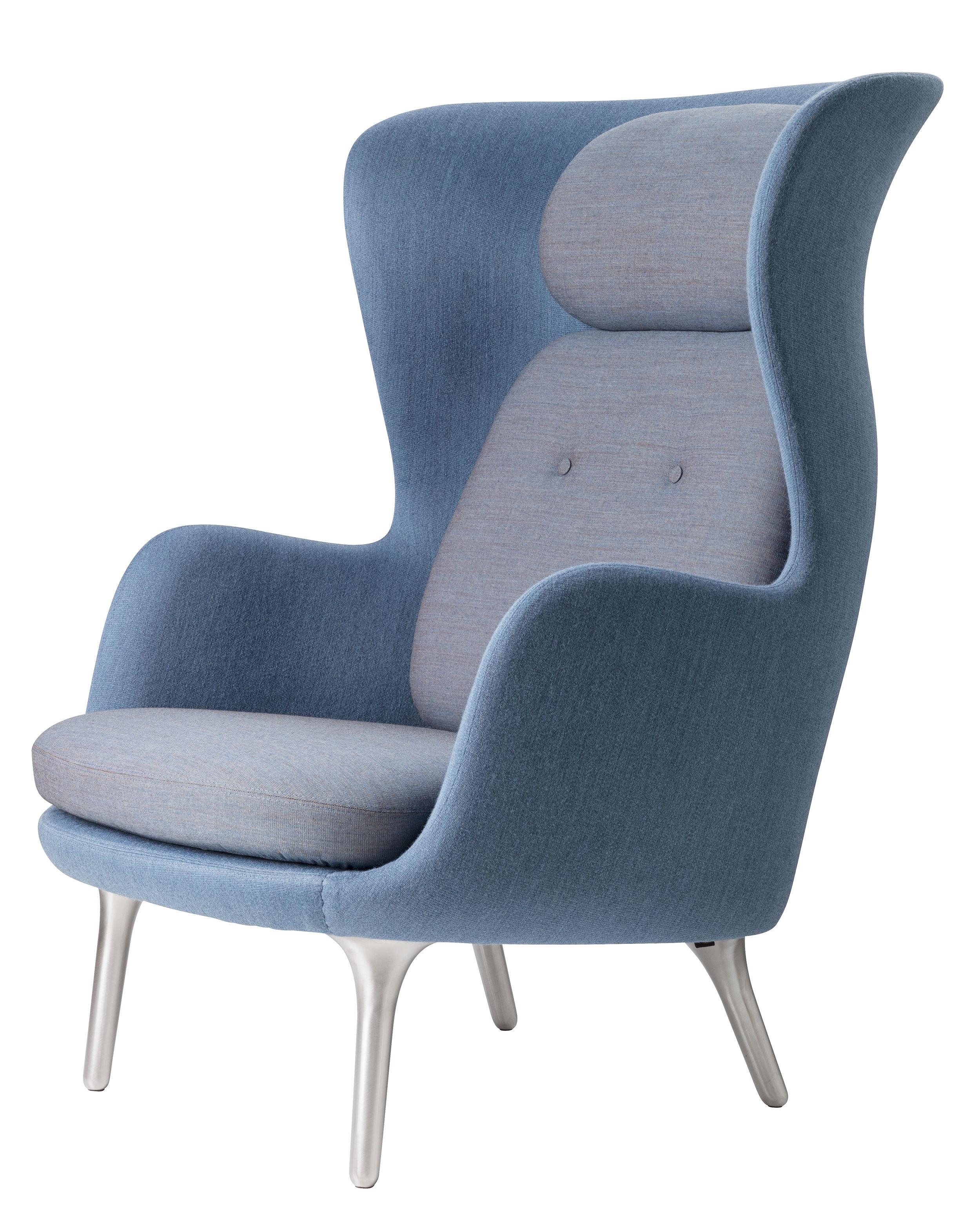 fauteuil rembourr ro tissu bleu assise gris clair fritz hansen. Black Bedroom Furniture Sets. Home Design Ideas