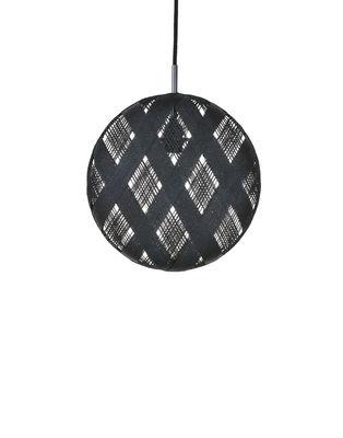 Luminaire - Suspensions - Suspension Chanpen Diamond / Ø  26 cm - Forestier - Noir  / Motifs losanges - Abaca tissé