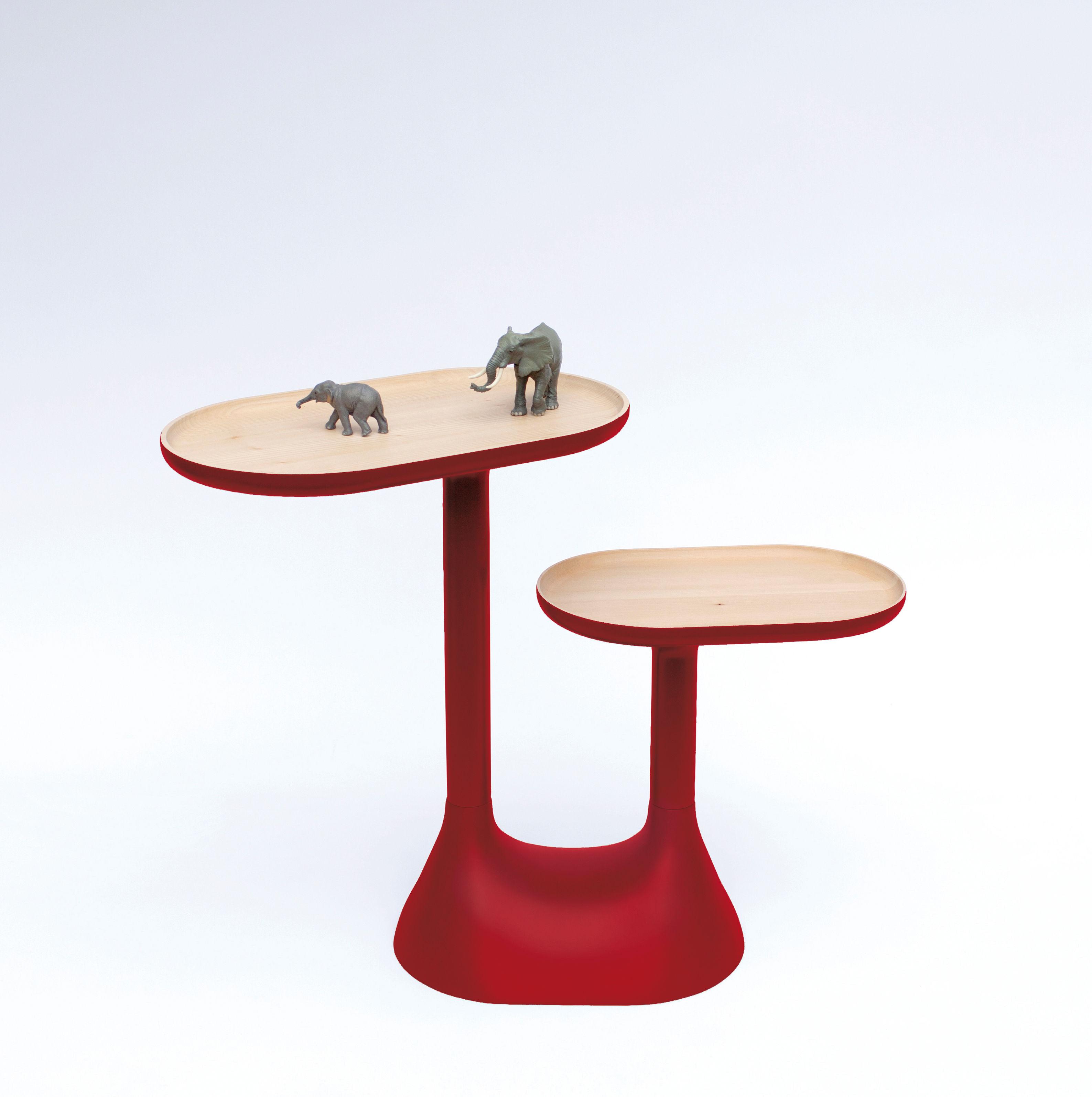 table basse baobab 2 plateaux pivotants rouge moustache. Black Bedroom Furniture Sets. Home Design Ideas