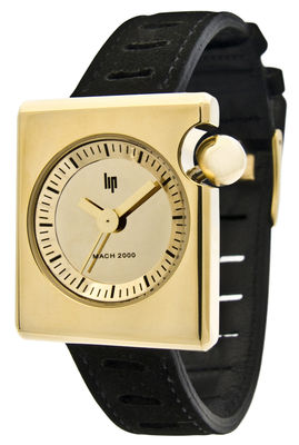 Accessories - Watches - Duchesse Gold Watch by Lip - Black strap / Gold dial - Golden steel, Leather
