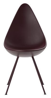 Chaise Drop / Coque plastique - Réédition 1958 - Fritz Hansen rouge bourgogne en matière plastique