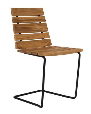 Chaise grinda bois m tal teck structure noire for Chaise noire et bois